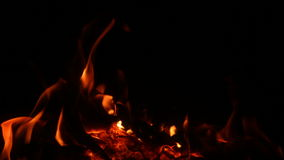 Fireplace, wood burning, close up. stock footage