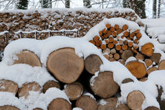 Fireplace wood in snow Royalty Free Stock Photography