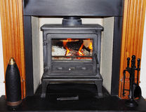 Fireplace with Woodburning Stove Royalty Free Stock Photography