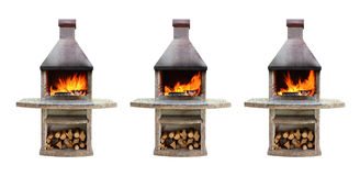 Fireplaces with burning firewood Royalty Free Stock Photography