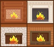 Fireplaces in Classic Styles Wooden and Stone. Decoration vector. Set of furnaces of open kind, burning logs orange flames. Carved ornamental decor interior royalty free illustration