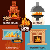 Fireplaces Design Concept. With different types construction and source of burning isolated vector illustration Royalty Free Stock Photos
