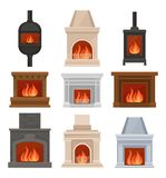 Fireplaces with fire set, stone and cast iron mantels vector Illustrations on a white background. Fireplaces with fire set, stone and cast iron mantels vector vector illustration