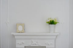 Fireplaces and flowers. Photo Frame Royalty Free Stock Photo