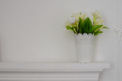 Fireplaces and flowers. Photo Frame Stock Photo
