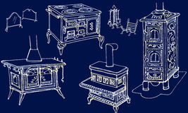 Fireplaces furnace vintage gold blue. Sketch, doodle of a set of ancient furnaces and heaters, fireplaces, furnace vintage color silver  in blue backround Royalty Free Stock Photo