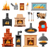 Fireplaces Icons Set Stock Photography