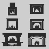Fireplaces Icons Stock Images