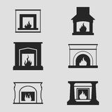 Fireplaces Icons. Set of icons on a theme Fireplaces Stock Photography