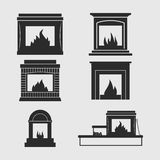 Fireplaces icons Stock Photography