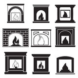 Fireplaces icons. Set of icons on a theme Fireplaces Stock Photo