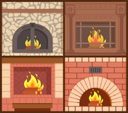 Fireplaces Made of Wood and Stone Heating Types. Fireplaces made of wood and stone heating systems types vector. Redbrick and wooden carving opened and closed stock illustration