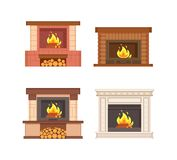 Fireplaces with Wooden Logs Isolated Icons Set. Vector. Electric type of furnace, warming heating system decorated with bricks and classic columns royalty free illustration