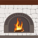 Fireplaces wooden and stone decoration design vector. Illustration vector illustration