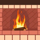 Fireplaces wooden and stone decoration design vector. Illustration stock illustration