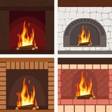 Fireplaces wooden and stone decoration set vector. Illustration vector illustration