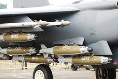 Firepower. A photo taken on some bombs and missiles armed on-board a fighter jet plane Stock Photos