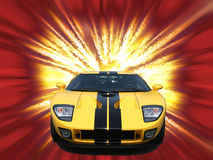 Firery yellow american sportscar. Firery bright yellow american sportscar Royalty Free Stock Photos