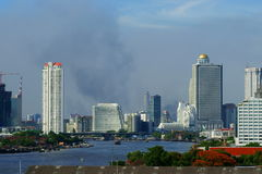 Fires in bangkok. Plumes of smoke over bangkok on 19 may 2010 in the aftermath of the army crackdown on the protesters, pro fugitive ex prime minister thaksin royalty free stock image