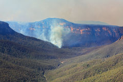 Fires burning in Grose Valley Blue Mountains Royalty Free Stock Photo