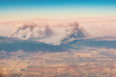 Fires burning in the mountains in north Los Angeles county. CA Royalty Free Stock Images