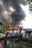 Fires in densely populated urban waterfront. TARAKAN, INDONESIA - MAY 29: Fires in densely populated urban waterfront on May 29, 2013 at Tarakan, Indonesia Stock Photo