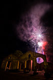 Fires fireworks on the sky of the ancient ruins Royalty Free Stock Photo