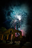Fires fireworks on the sky of the ancient ruins Royalty Free Stock Images