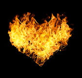 Fires flames in heart shape Stock Image