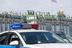 Fires of the police car on the city street. Fires of the police car on the city Sanct-Petersburg stock images