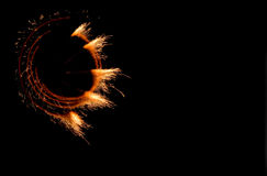 Fires of pyrotechnics on black. Royalty Free Stock Photo