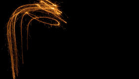 Fires of pyrotechnics on black. Stock Image