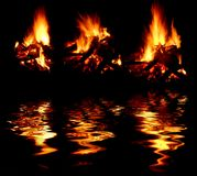 Fires with reflection Royalty Free Stock Photos