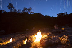 The fires of Yanartas at night, Antalya, Turkey Royalty Free Stock Photo