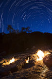 The fires of Yanartas at night, Antalya, Turkey Royalty Free Stock Image