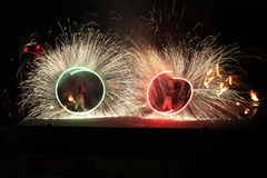 Fireshow. Bright sparks in the night fire show Royalty Free Stock Images
