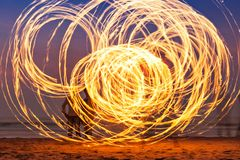 Fireshow at the beach. Beauty fire show at the beach, Goa Royalty Free Stock Photo