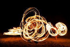 Fireshow at the beach. Beauty fire show at the beach, Goa Royalty Free Stock Image