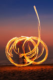 Fireshow at the beach Stock Image
