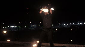 Fireshow on city background stock video