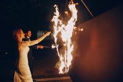 Fireshow dans awedding Photos libres de droits