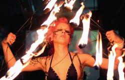 Fireshow en festival del tatuaje Imágenes de archivo libres de regalías