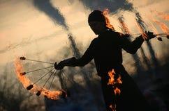Fireshow en Maslenitsa Imágenes de archivo libres de regalías