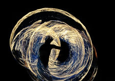 Fireshow. Fiery circles left over from rotating fireballs during the show Royalty Free Stock Photography