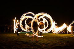 Fireshow on grass Stock Photos