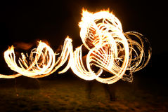 Fireshow on grass Royalty Free Stock Photo