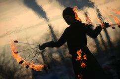 Fireshow on  Maslenitsa Royalty Free Stock Images