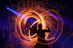 Fireshow, slow shutter speed. A moment from fire show, movement captured with slow shutter speed Stock Images