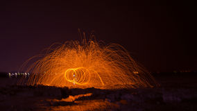 Fireshow. The use of plastic burning fire-shows Royalty Free Stock Images