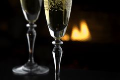 Fireside Champagne 1 Stock Photography